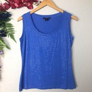 St. John blue sparkly sleeveless top